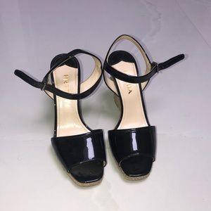 Prada black wedges with open toe